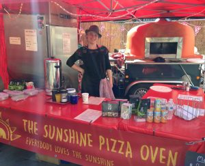 Sarah ready to serve Ready to serve delicious pizza